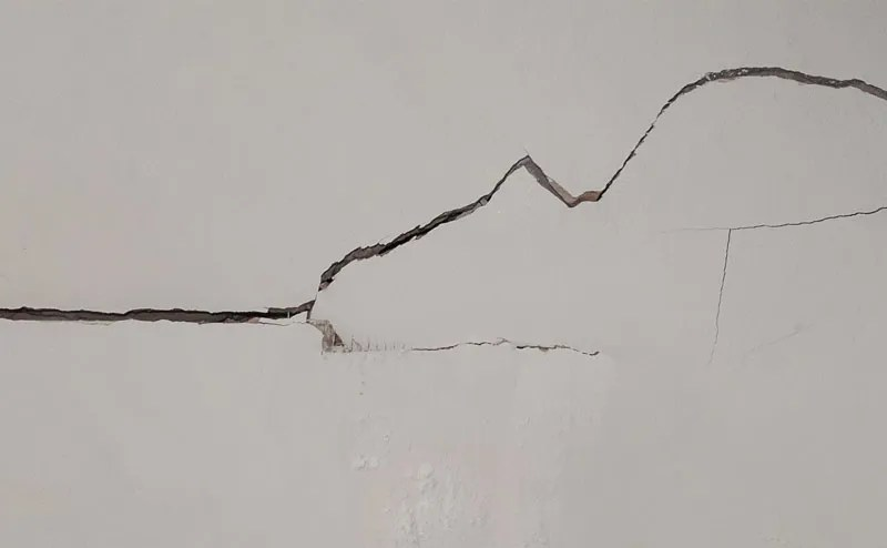 Cracks in an interior wall