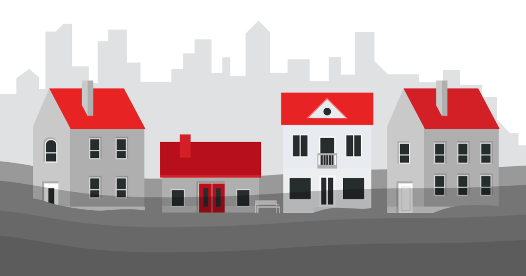 gray and red illustration of houses