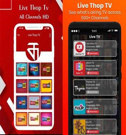 ThopTv App Interface