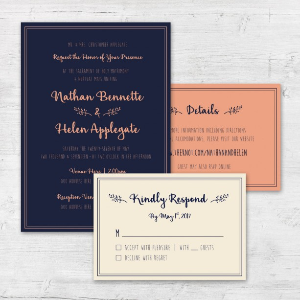 Navy And C Invites Whimsical Preppy Wedding Invite Set Elegant Invitation Modern Diy Printables