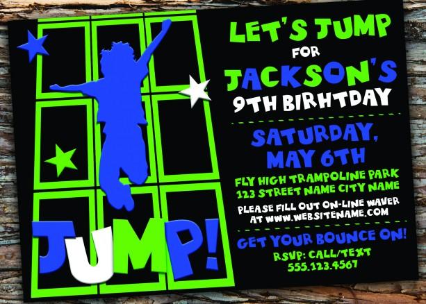 trampoline jump birthday party invitation