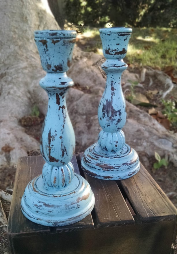 Shabby Chic Aqua Blue Candle Holders Aftcra
