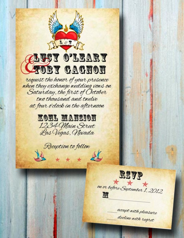 Custom Rockabilly Tattoo Wedding Invitation Set