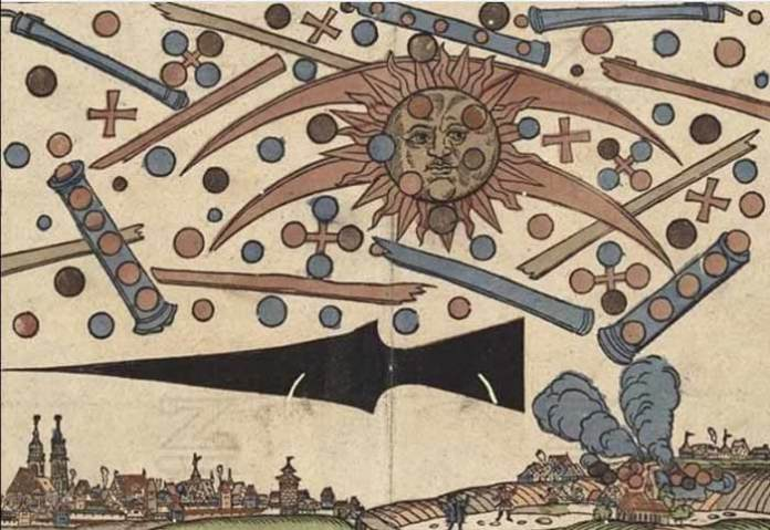 """Ufo nell'arte - """"Ufo battle over Nuremberg"""". Printed in an illustrated news notice 1561"""