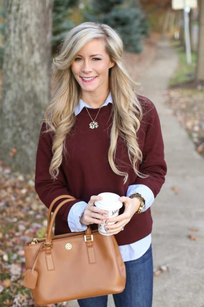 Ashley Pletcher from the blog Afternoon Espresso layers her fall look with a classic Ann Taylor button down and her favorite Joe's Jeans.