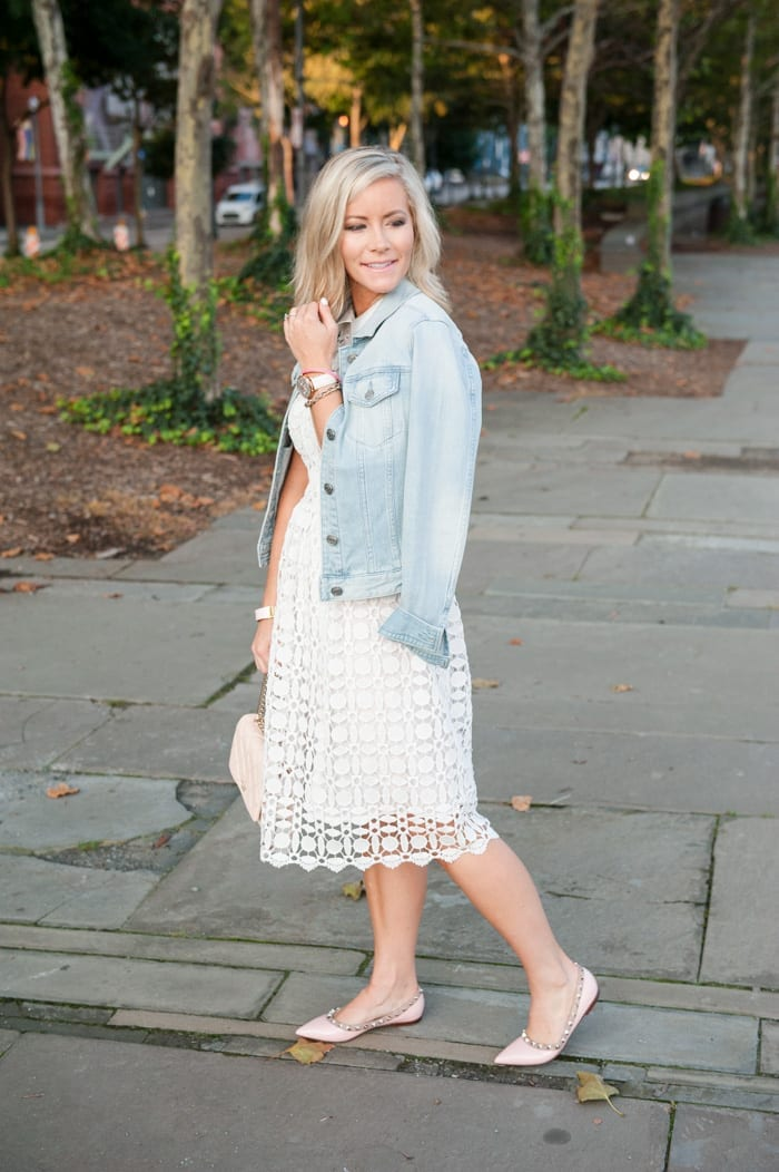 Afternoon Espresso blogger, Ashley Pletcher heads to downtown Pittsburgh for a fun date night in a white Chicwish dress layered with a J.Crew denim jacket.