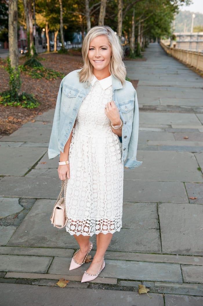 Blogger, Ashley Pletcher loving her Chicwish dress layered with a J.crew denim jacket.