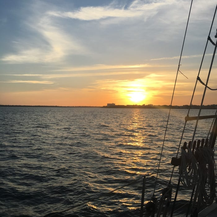 Blogger, Ashley Pletcher explored Charleston Harbor on the Schooner Pride sunset sail.