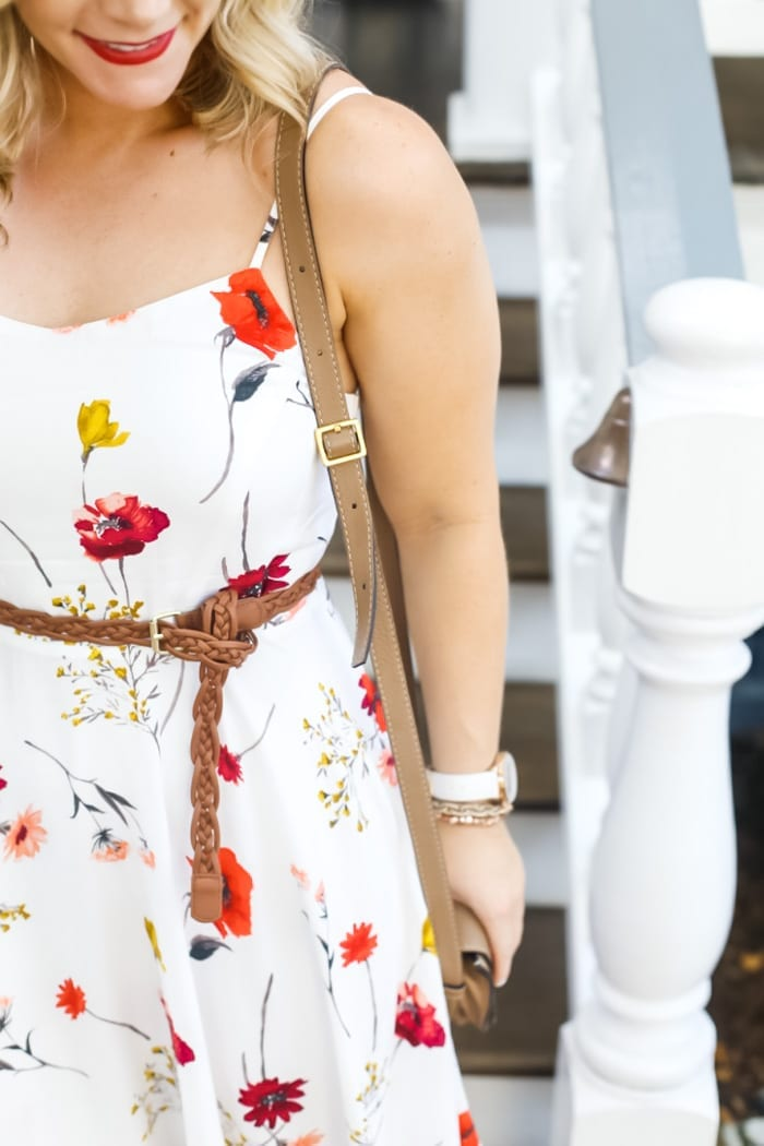 Ashley Pletcher, blogger at Afternoon Espresso, beats the summer heat in Charleston, SC by wearing an affordable Old Navy Dress paired with Sole Society Sandals and a Chloe Crossbody bag.