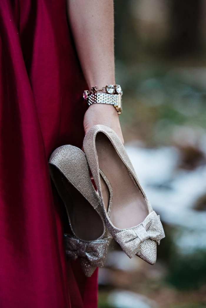 These Asos bow pumps are the perfect addition to this gorgeous Monique Lhullier dress from Rent the Runway