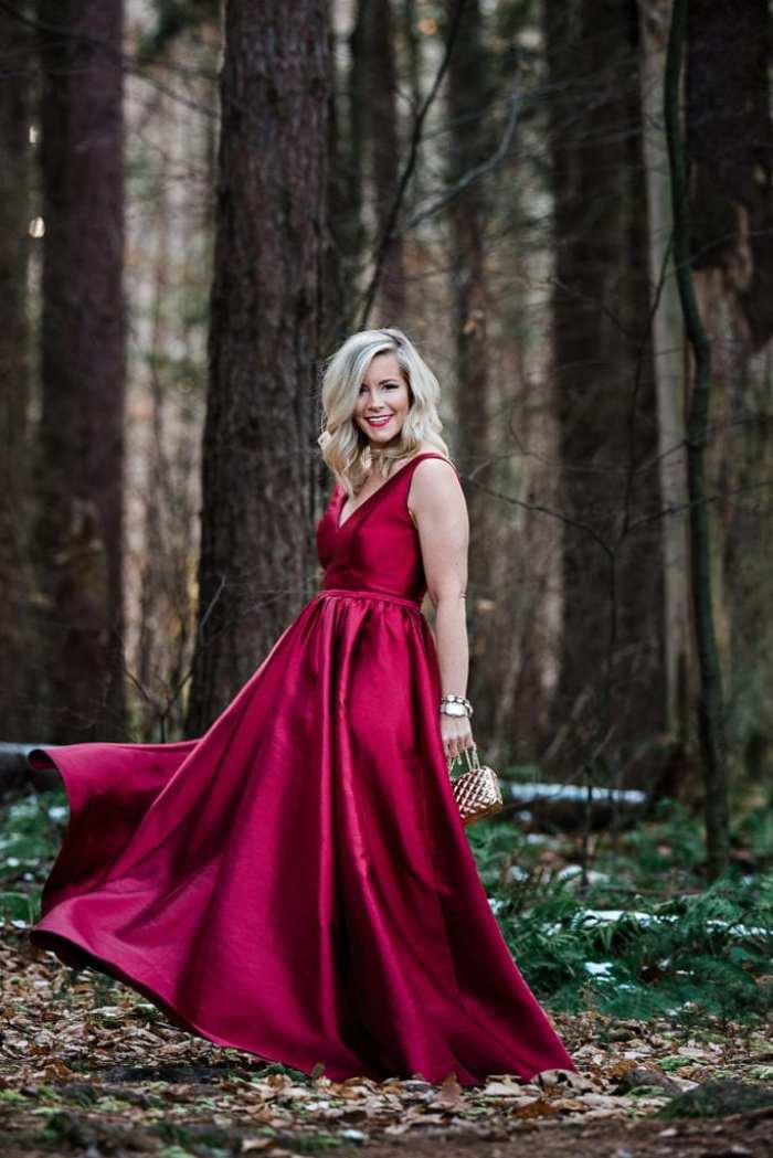 Going glam this year in Monique Lhullier ball gown from Rent the Runway for the Afternoon Espresso Blog Christmas Card.