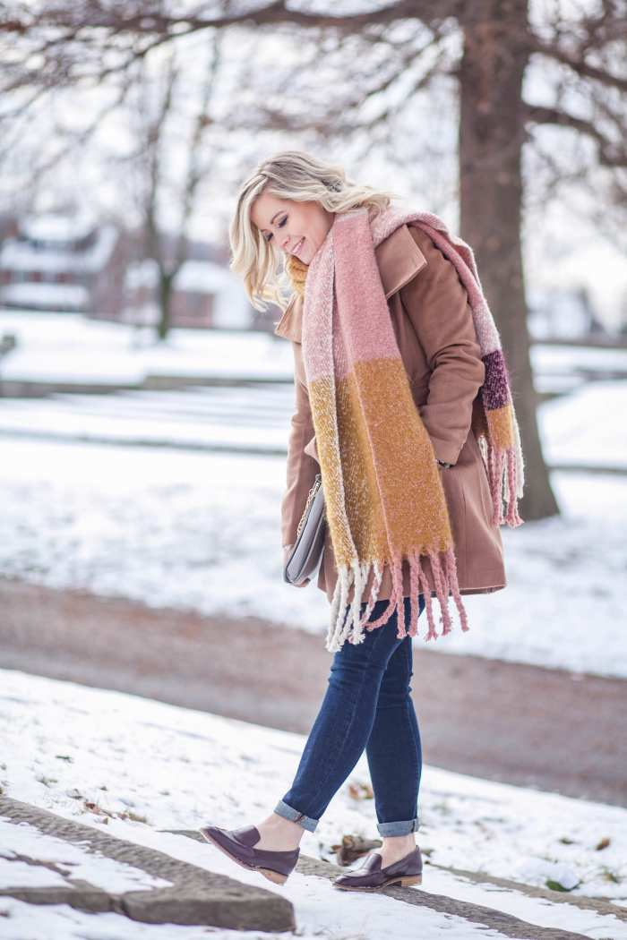 cozy coats and blush blanket scarf joe's jeans