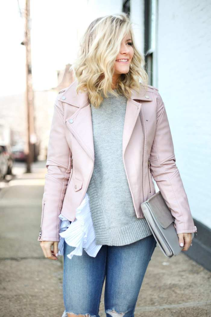 Chicwish Ruffle Sweaters and BLANKNYC Pink Moto jackets for Spring