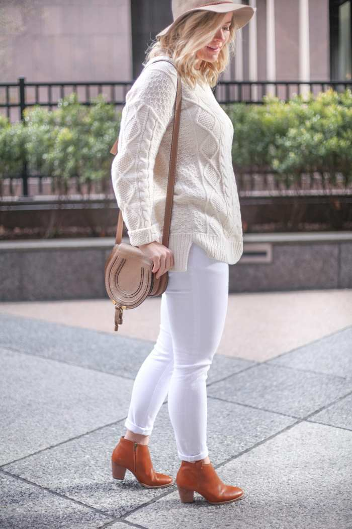 Maternity Outfit Idea - Maternity Style - Cable Knit Sweater - Asos Maternity Jeans - Bump Style