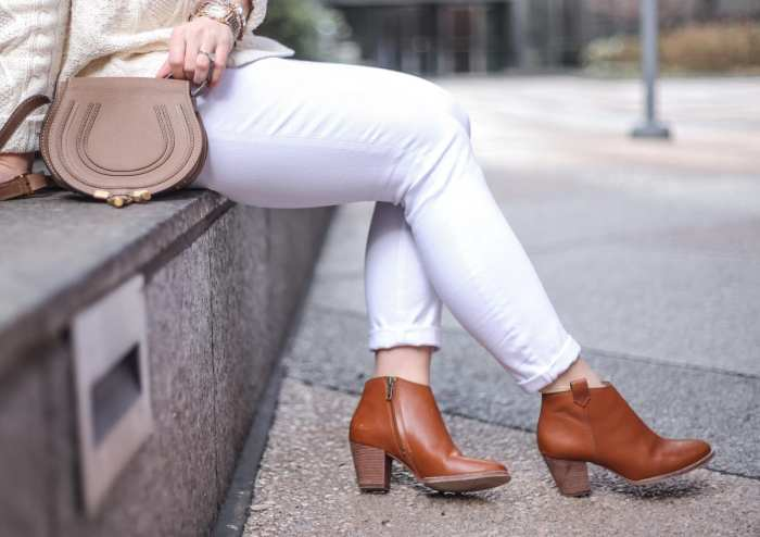 Chloe Saddle Bag - Spring transition look - Madewell Billie Booties - White Denim - Asos Denim -