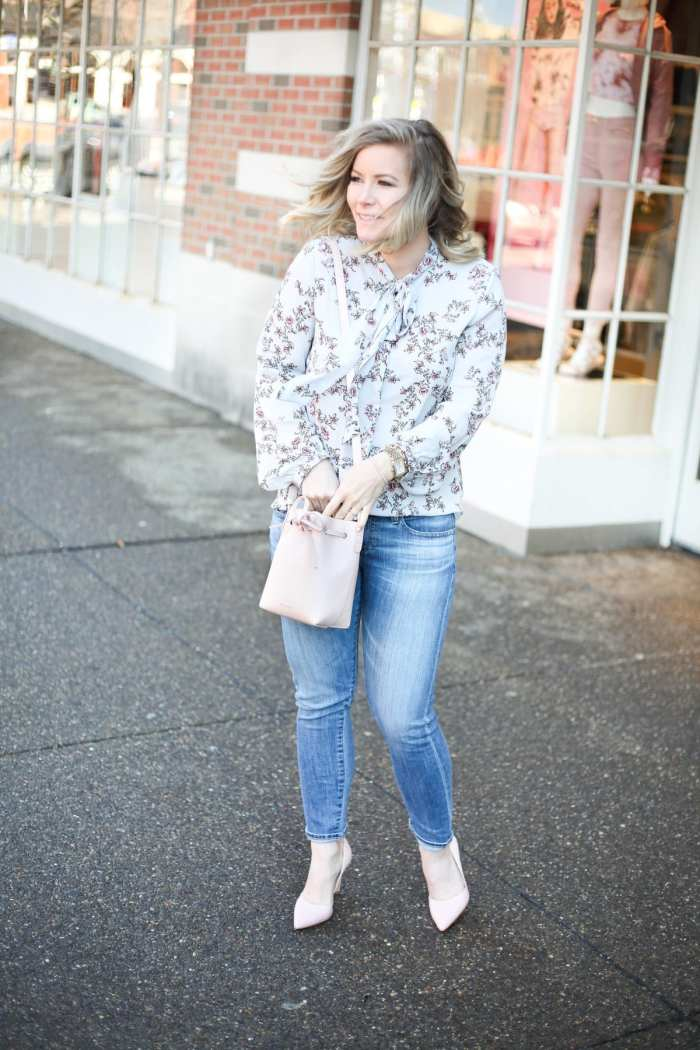 Spring Transition - Floral Prints- Floral Blouse- Mansur Gavriel Bag- AG Denim - Ashley Pletcher- Target Style- Blush Pumps