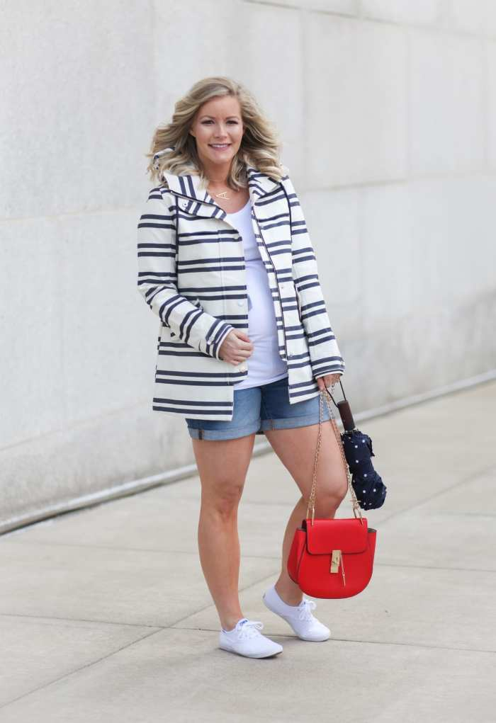 rainy day esseentials- fashion blogger- maternity fashion - ingrid and isabel- summer raincoat