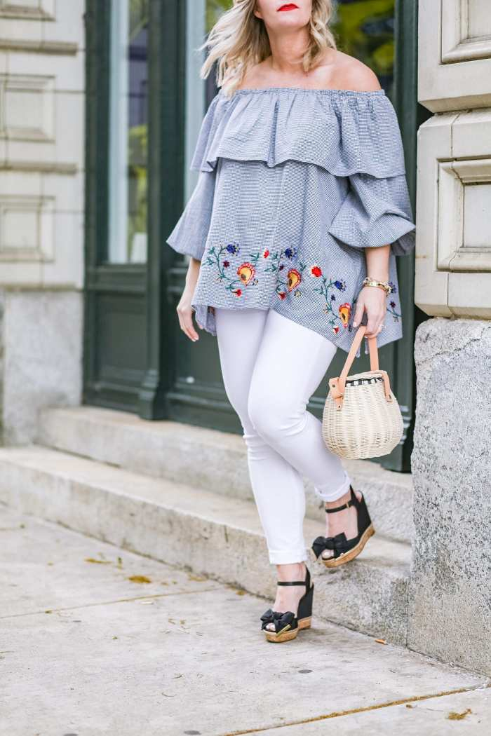 Summer trends - gingham- basket bags- maternity- fashion- Zara blouse- afternoon espresso- blogger