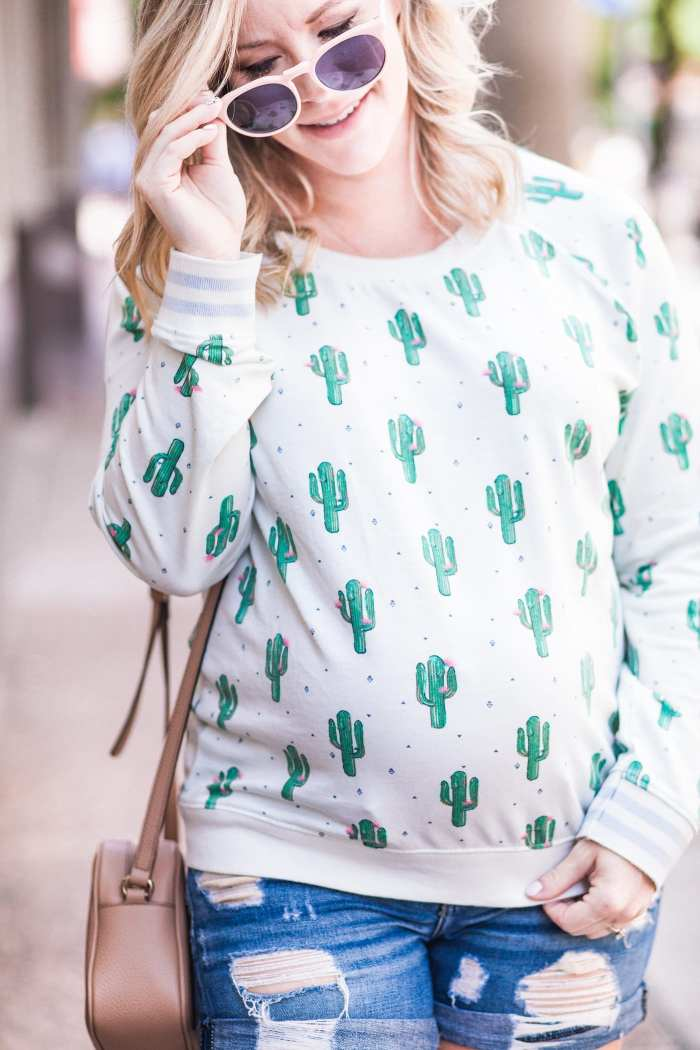 Nordstrom Cactus Print Sweatshirt - Summer Fashion - Distressed shorts