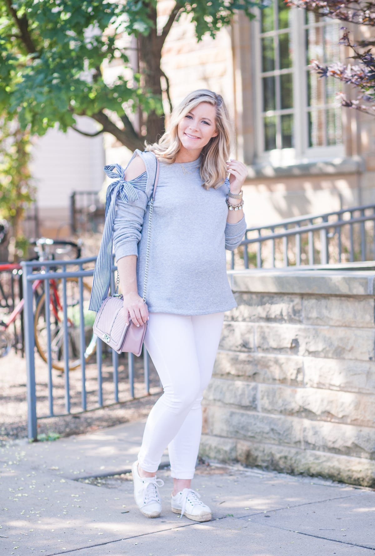 Transition to Fall: Adorable Cold Shoulder Bow Sweatshirt