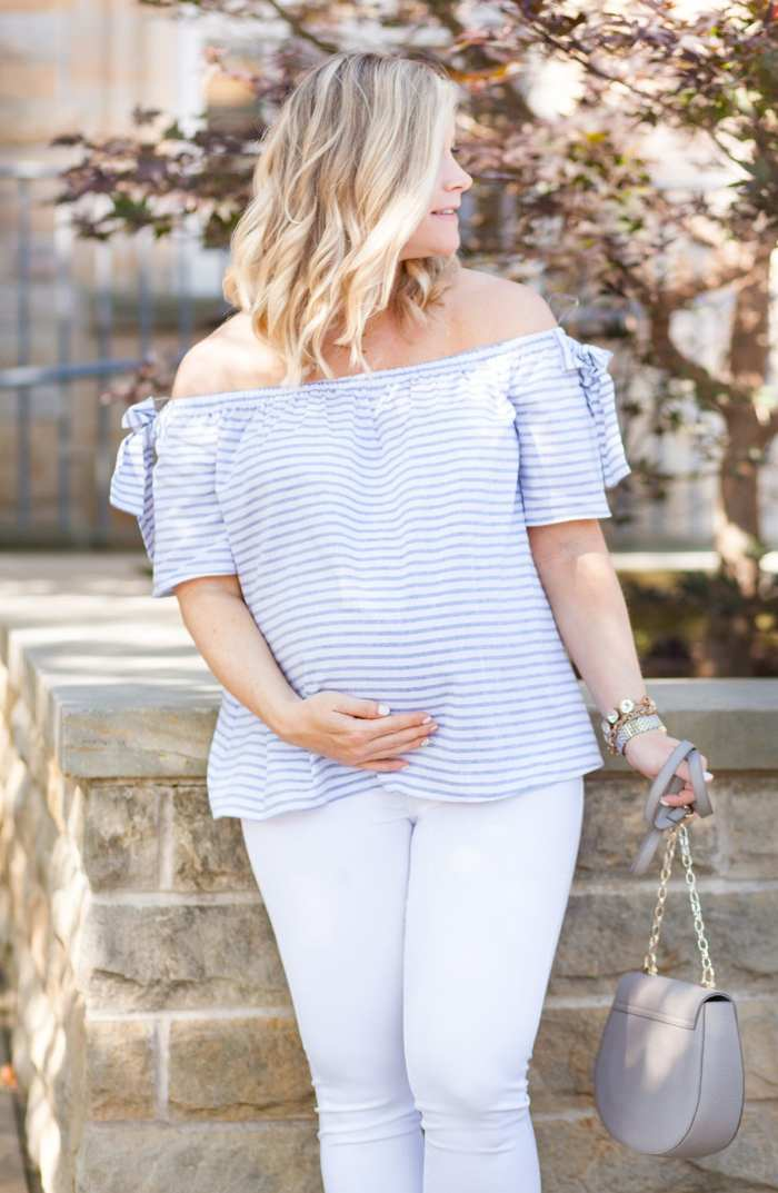 Nordstrom-Anniversary Sale-Blogger- Off the Shoulder Blouse- Maternity