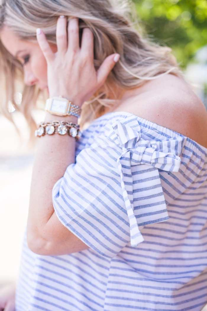Nordstrom-Anniversary Sale-Blogger- Off the Shoulder Blouse- Michele Watch