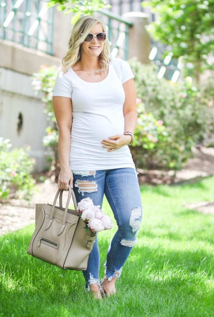 Ashley Pletcher - Celine bag - ripped jeans - flowers - peonies - white tee shirt - fashion blogger - maternity - mom blog