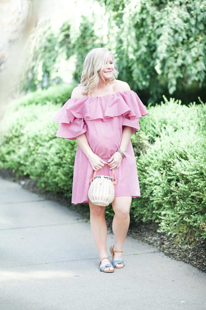 Chichwish- Red Gingham off the shoulder Dress- Blogger- Ashley Pletcher- Maternity Fashion