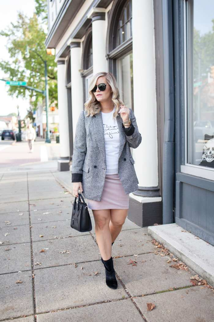 Blogger- Afternoon Espresso- Boyfriend Blazer- Sock Booties- Velvet Skirt
