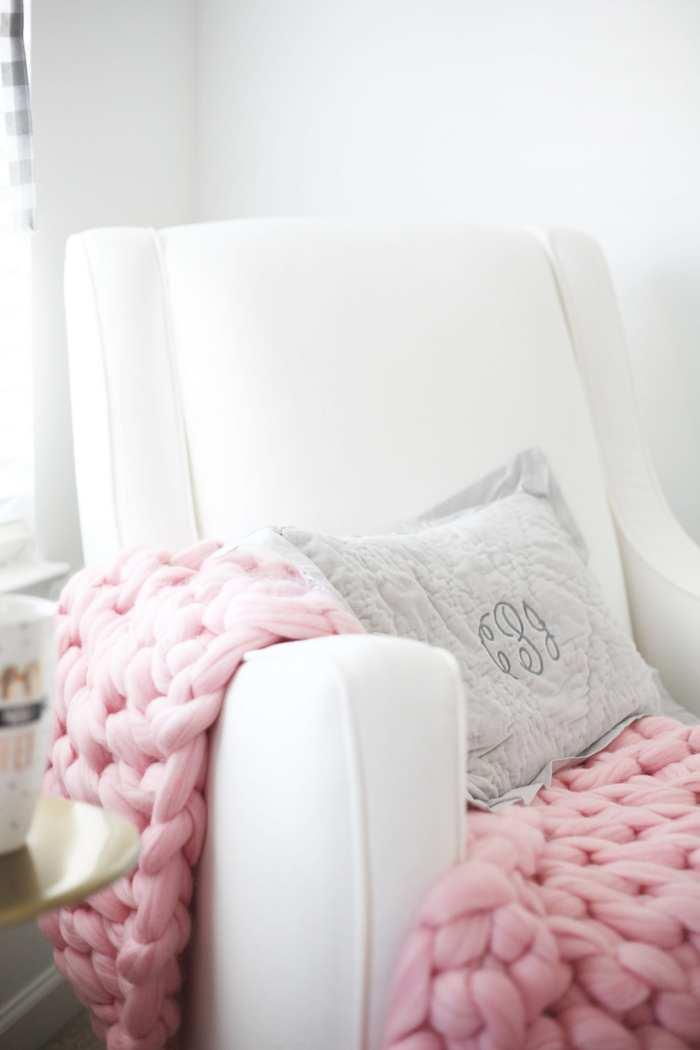 Joss and Main Swivel Chair - Wool Hugs Blanket - Nursery Decoration