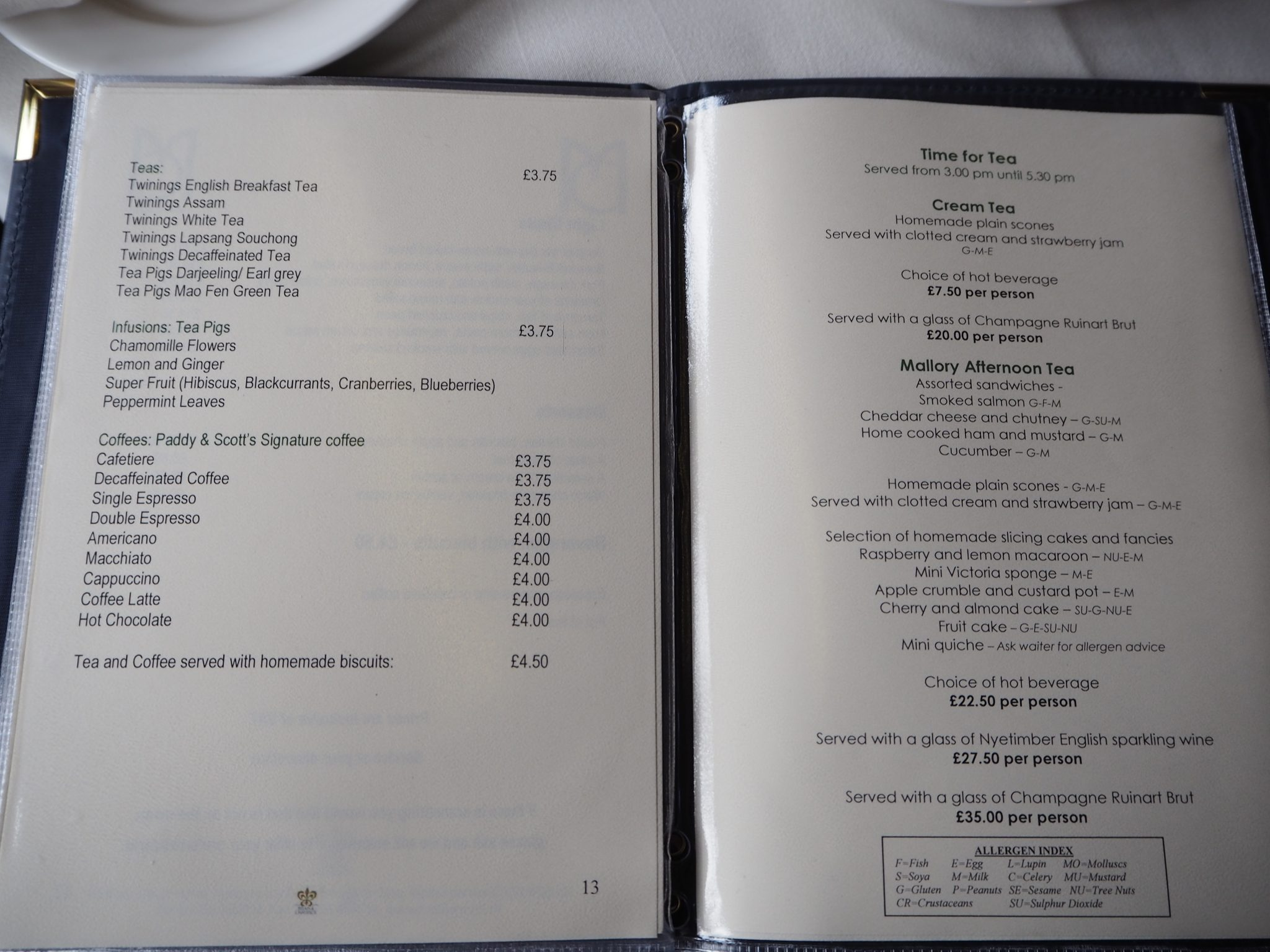 Mallory Court Afternoon Tea Menu