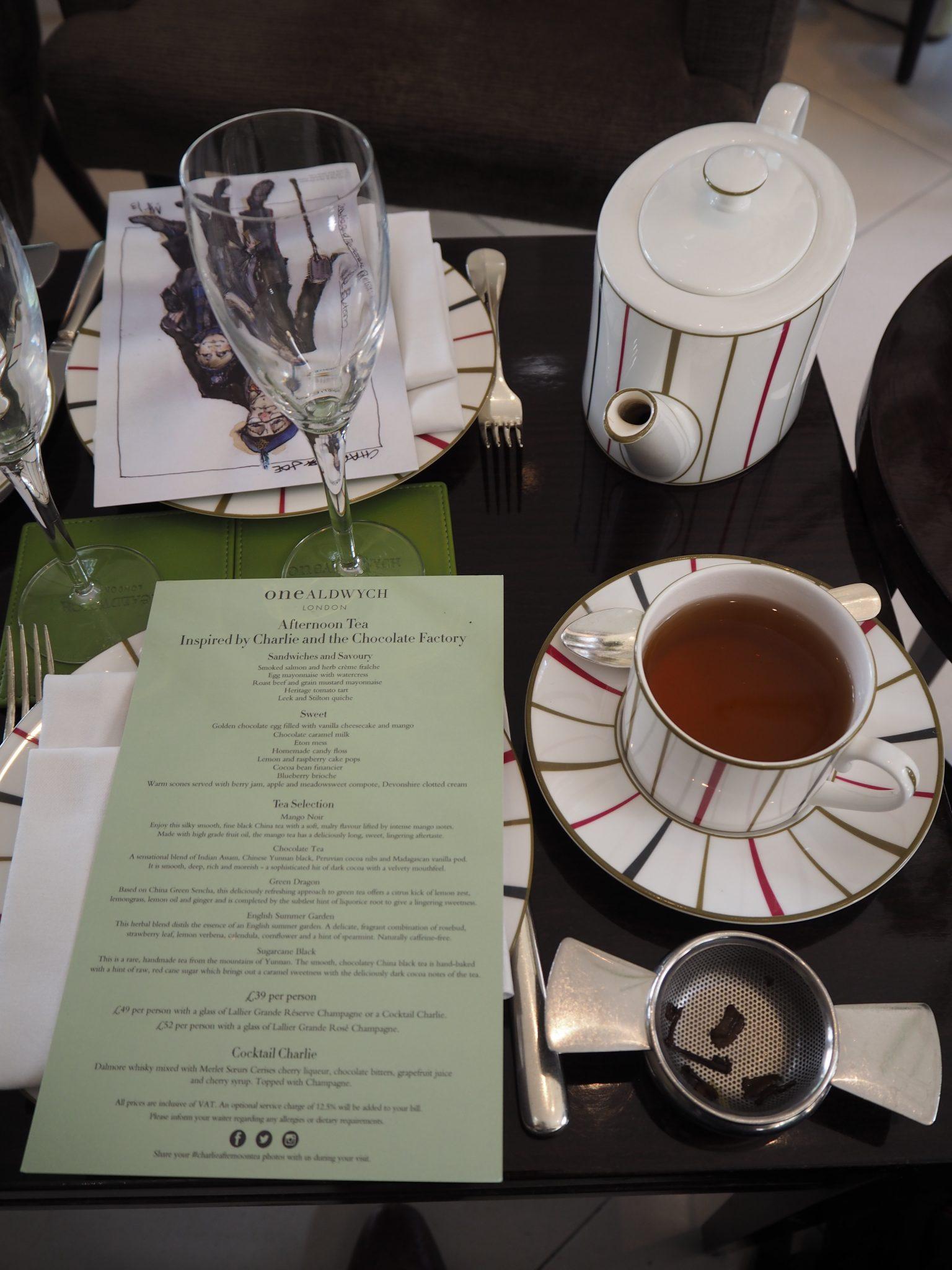 Afternoon Tea Menu & Mango Noir Tea