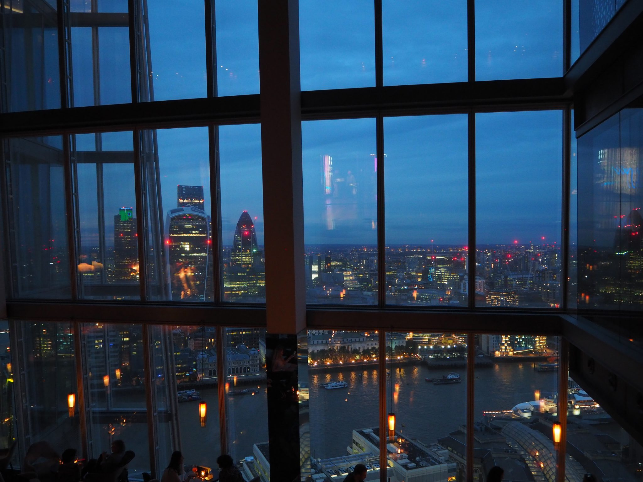 View from the Aqua Shard at sunset