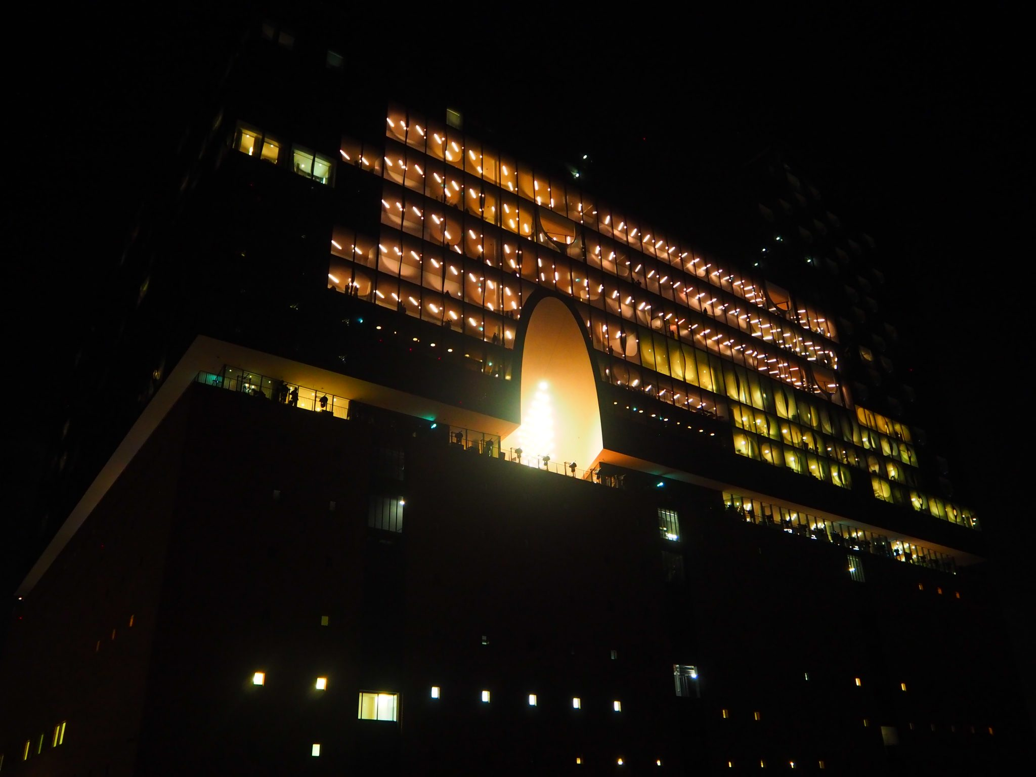 View of the Elbphilharmonie Concert Hall at night
