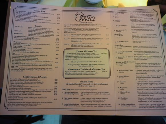 Vinteas menu