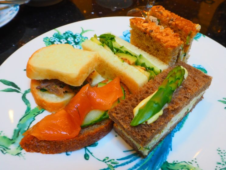 """The Savouries: """"Maple Mustard Glazed Salmon toast"""", """"5 Spice Citrus Chicken with Toasted Sesame & Spring Scallions"""", """"Lemon Dill Egg Mimosa sandwich with Asparagus"""", """"Spring Lamb Confit & Mint Jelly sandwich"""" and """"Green Goddess"""" (avocado, courgette/zucchini & coriander)."""