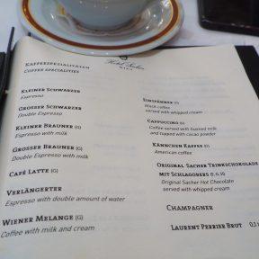Hotel Sacher Vienna Breakfast Menu