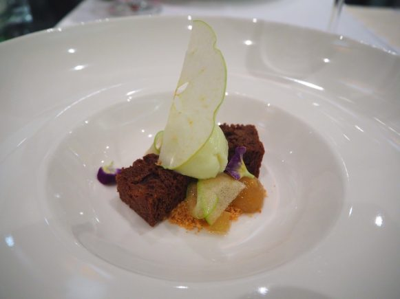 Apples marinated with ginger, brownies, apple purée and sorbet from Granny Smith apples