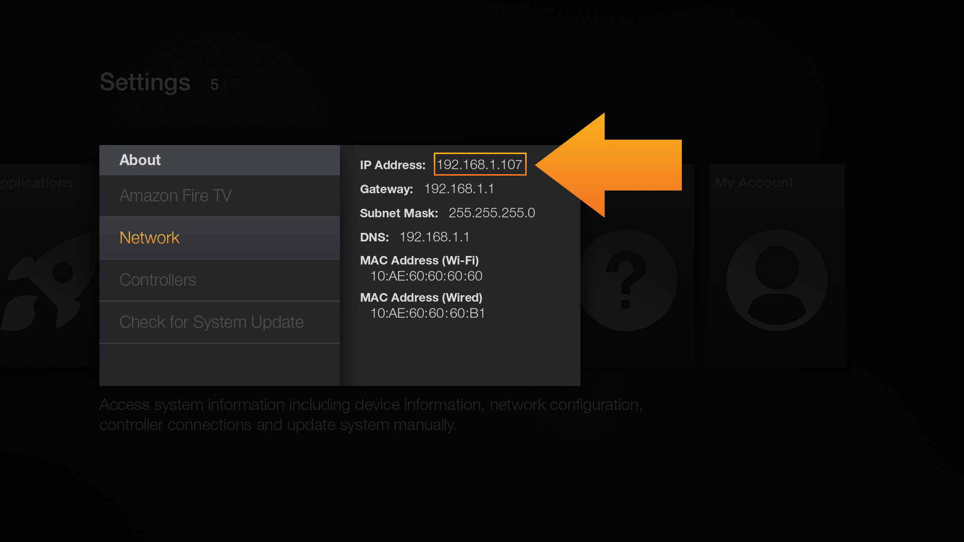 How to determine the IP Address of an Amazon Fire TV or Fire TV