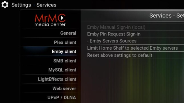 MrMC updates add native Emby support, custom OSD timeout
