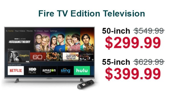 Element Fire TV Edition 4K television is $299 99 for 50″ and
