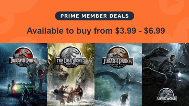All 4 Jurassic Park/World movies are on sale for $6 99 or