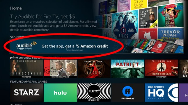 Get $5 Amazon Credit just for installing the Fire TV Audible app