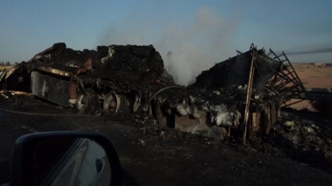 النيران تلتهم شاحنة وحمولتها بالكامل قبل دخولها أكادير