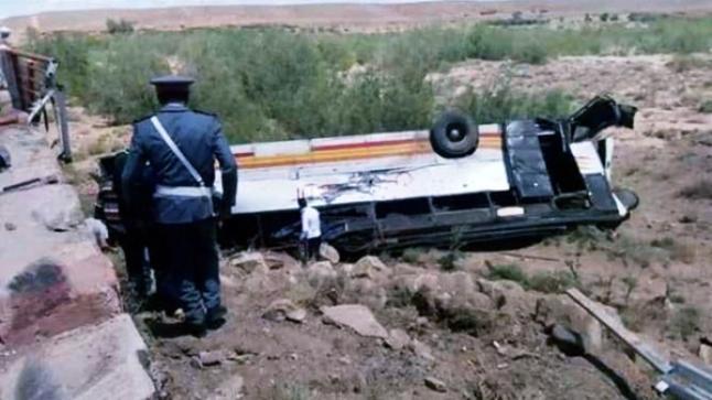 مقتل شخص في حادث انقلاب حافلة لنقل المسافرين بورزازات