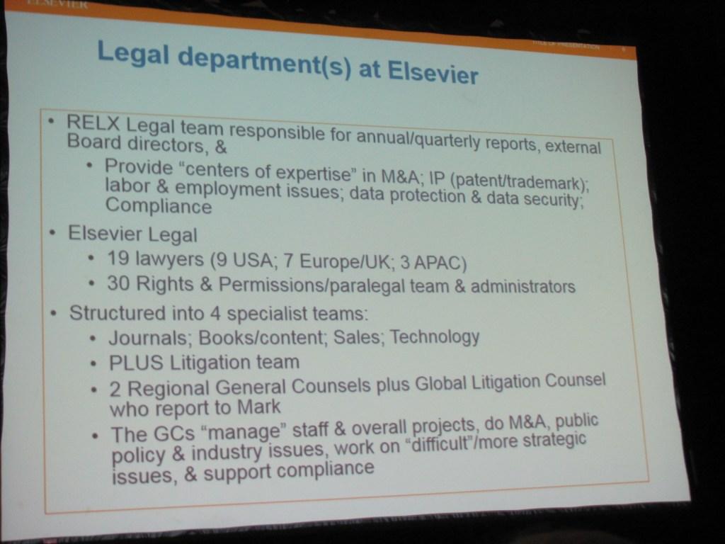 Elsevier's Legal Department