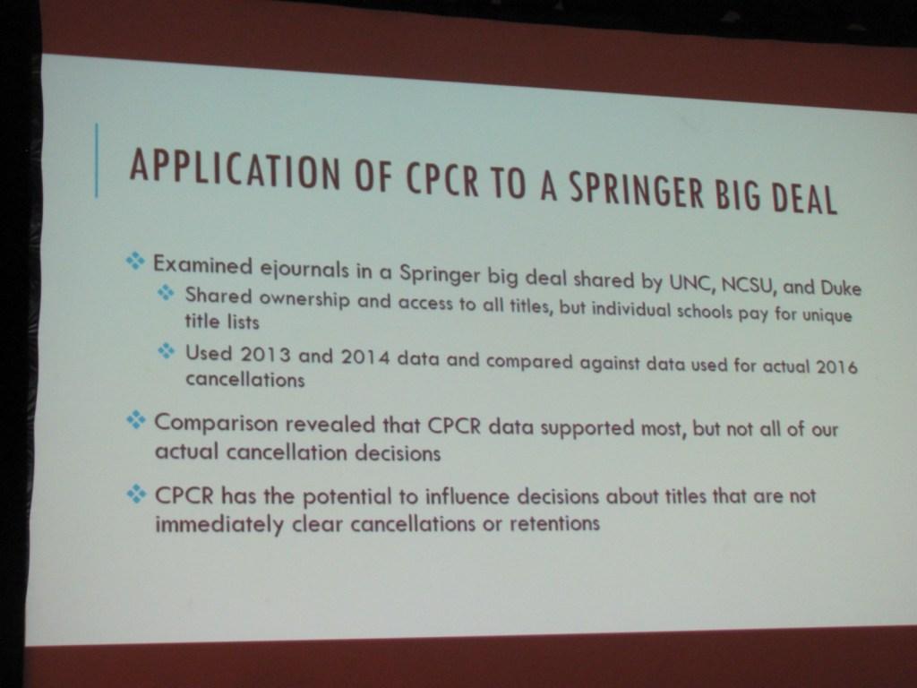 CPCR and the Big Deal