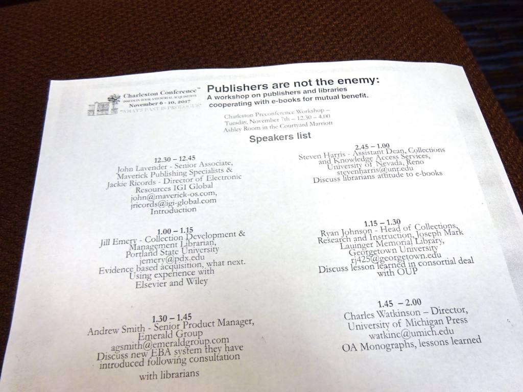Publishers Not the Enemy--Agenda 1