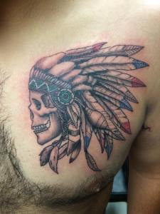 indian headdress tattoo, realistic tattoo, skull tattoo, Native American tattoo
