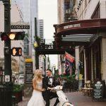 Downtown Houston Vespa Wedding Photos Agape House Studio